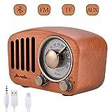 Qoosea Radio Portátil Altavoces Bluetooth Hecho a Mano Retro Estéreo de Madera Bluetooth 4.2 Mini Altavoz...