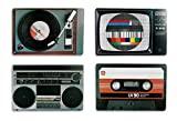 Out of the blue Juego de manteles Nostalgia, diseño de Equipos HiFi, Estilo Retro, de la Marca Leewadee