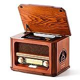 Shuman 7 y 1 Retro Madera Radio con FM , Reproductor de CD / MP3, Reproducción Bluetooth, Reproducción USB,...