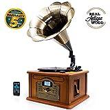 Lauson CL147 Gramófono Retro Bluetooth Función Encoding, Tocadiscos Vintage Trompeta de Madera con Altavoces...