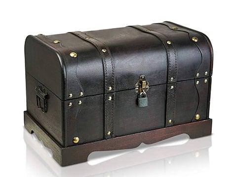 Baúl de almacenamiento en cuero negro