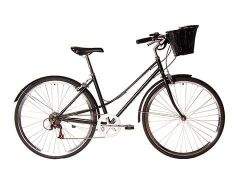 Bicicleta de paseo negra con cesta