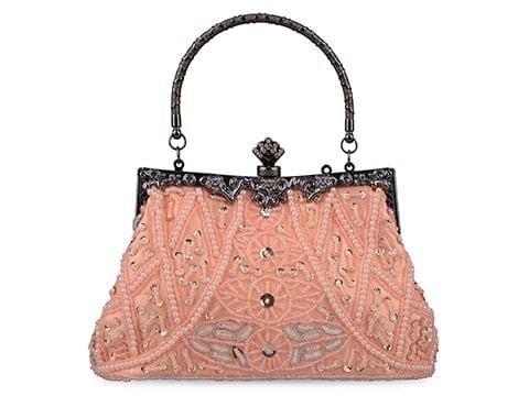 Bolso vintage rosa con pedrería