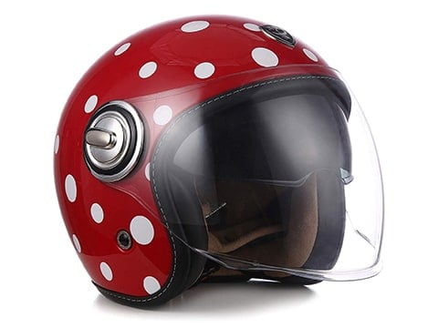 Casco de moto pin up con lunares
