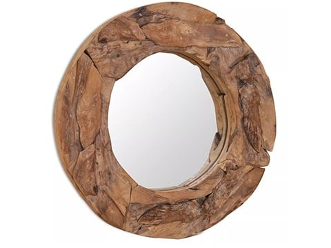 Espejo rústico redondo de madera