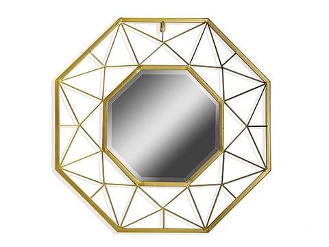Espejo retro dorado octogonal