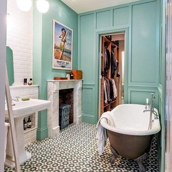 Baño retro azul