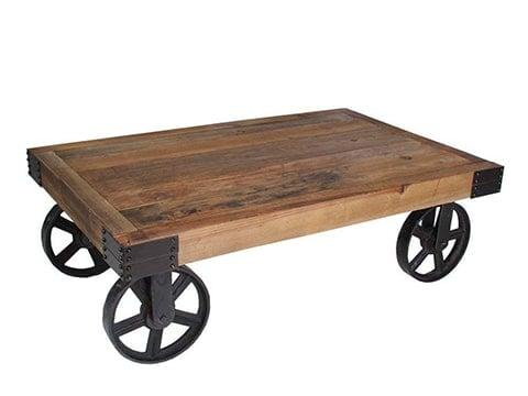 Mesa de café industrial con ruedas