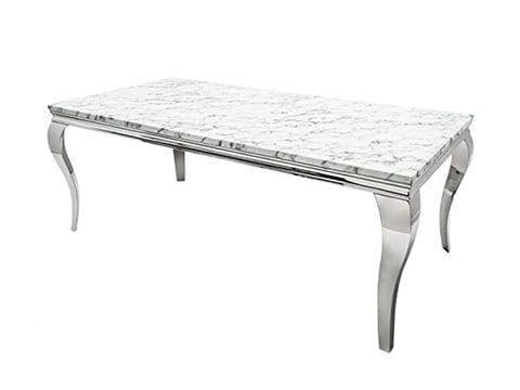 Mesa estilo barroco de mármol y acero