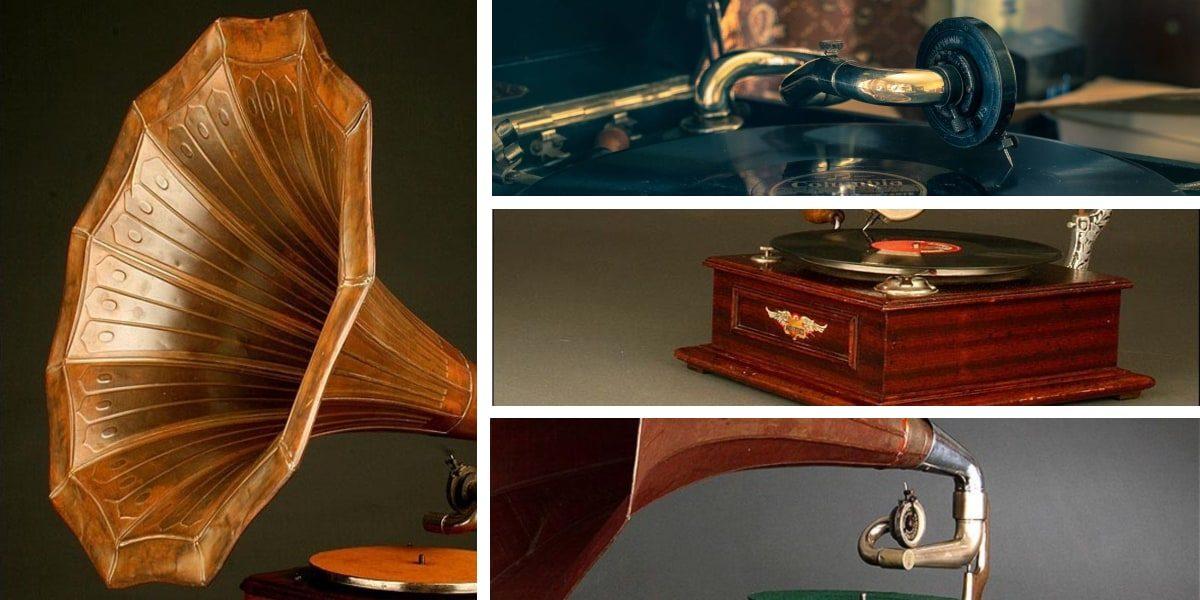 Piezas de un gramófono antiguo