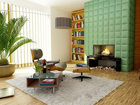 Salón retro verde