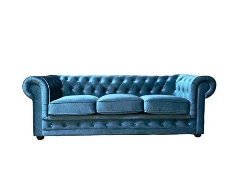 Sofá Chesterfield de terciopelo azul