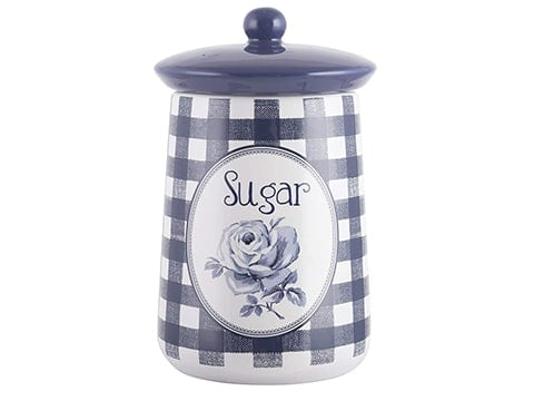Tarro vintage para azúcar a cuadros