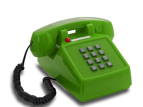 Teléfono retro verde con luz roja