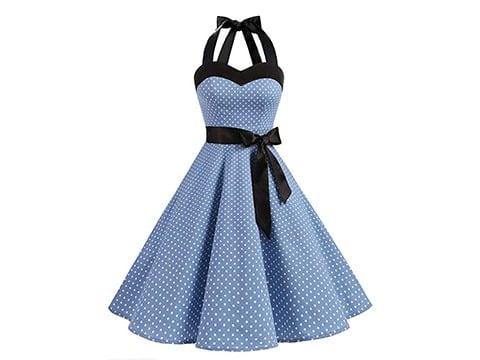 Vestido años 50 azul con lunares blancos