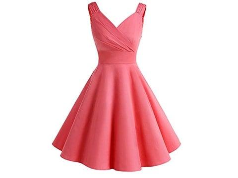 Vestido años '50 rosa con vuelo