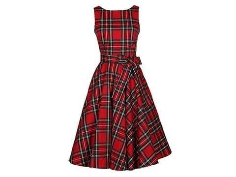 Vestido retro estampado escocés