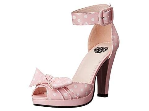 Zapatos con lazo polka dot rosa