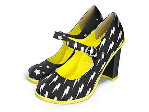 Zapatos de mujer retro amarillos