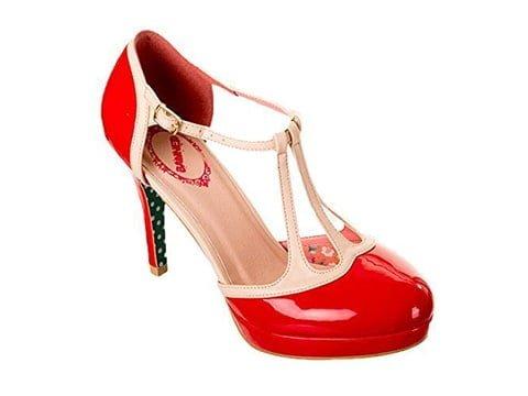 Zapatos años '50 rojo y blanco