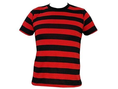 Camiseta retro a rayas negras y rojas