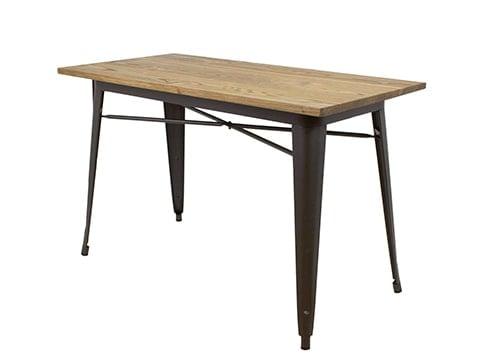 Mesa industrial de madera y hierro