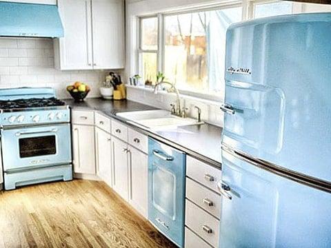 Decoración retro para cocina azul