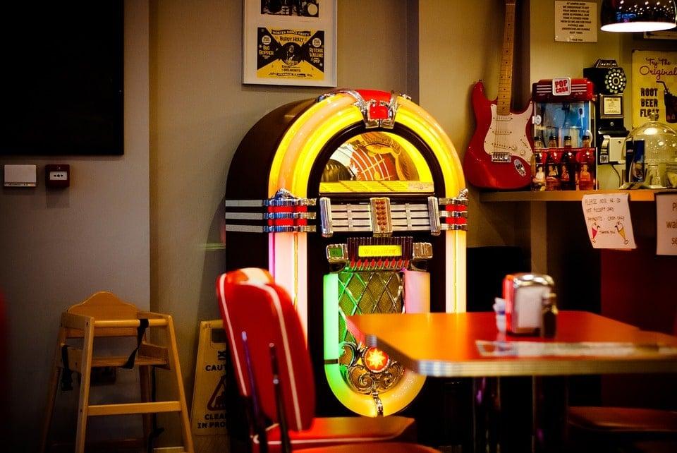 Jukebox de música en vinilo