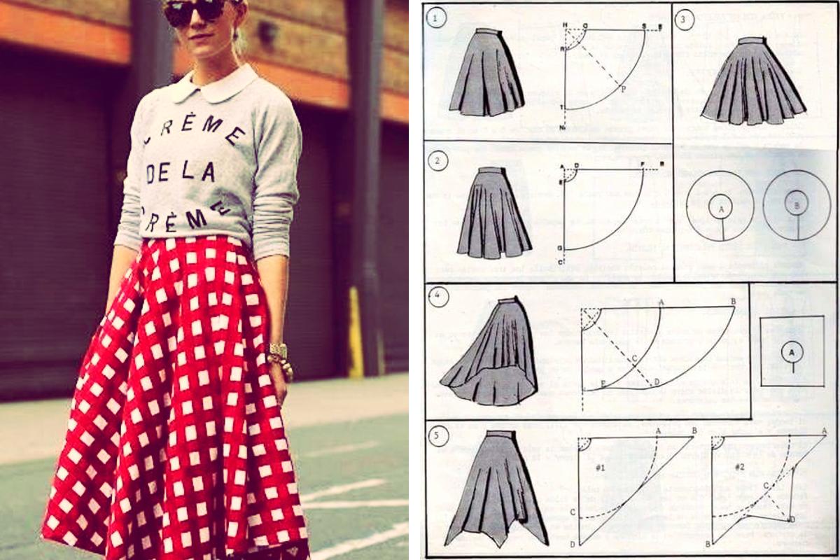 Patrón de falda vintage tipo midi