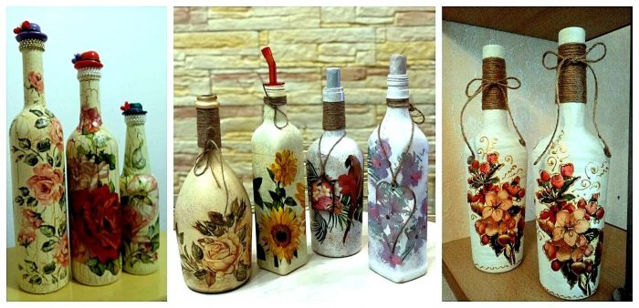 ´Decoración decoupage en botellas de cristal