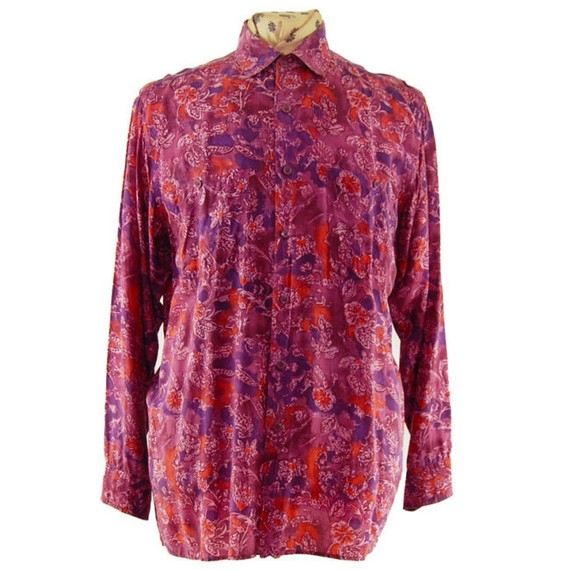 Camisa de seda retro rosa de los 80