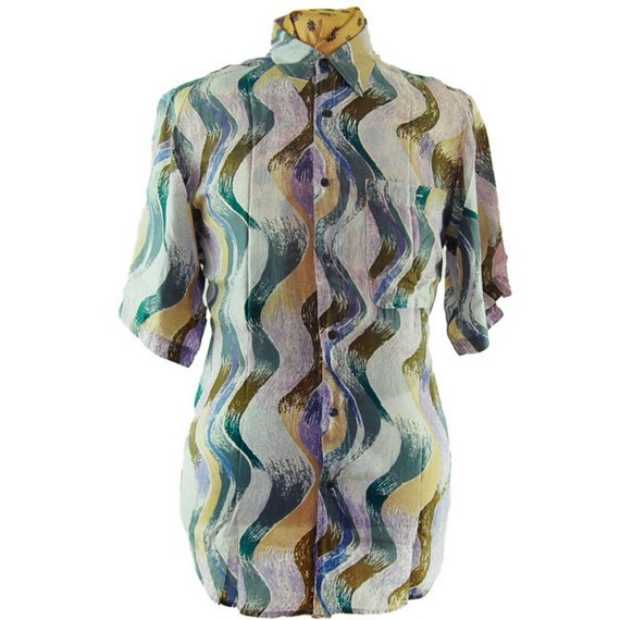 Camisa de seda vintage color pastel años 80