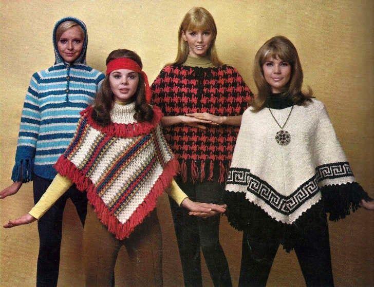La moda del poncho de los 70