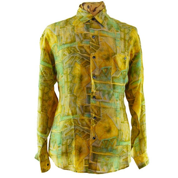 Camisa de seda retro verde de los 90