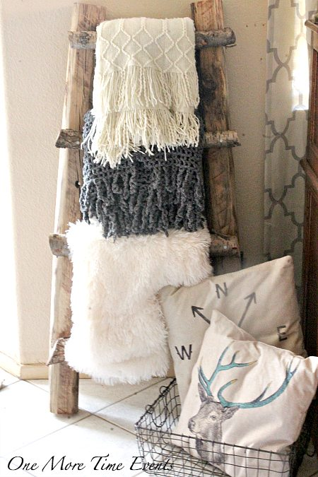 Escalera estilo rústico de troncos