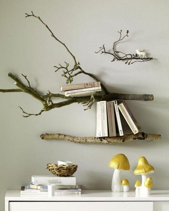 estantería rústica de ramas