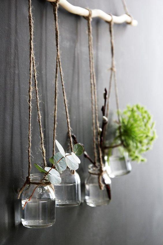 decoración con ramas vintage