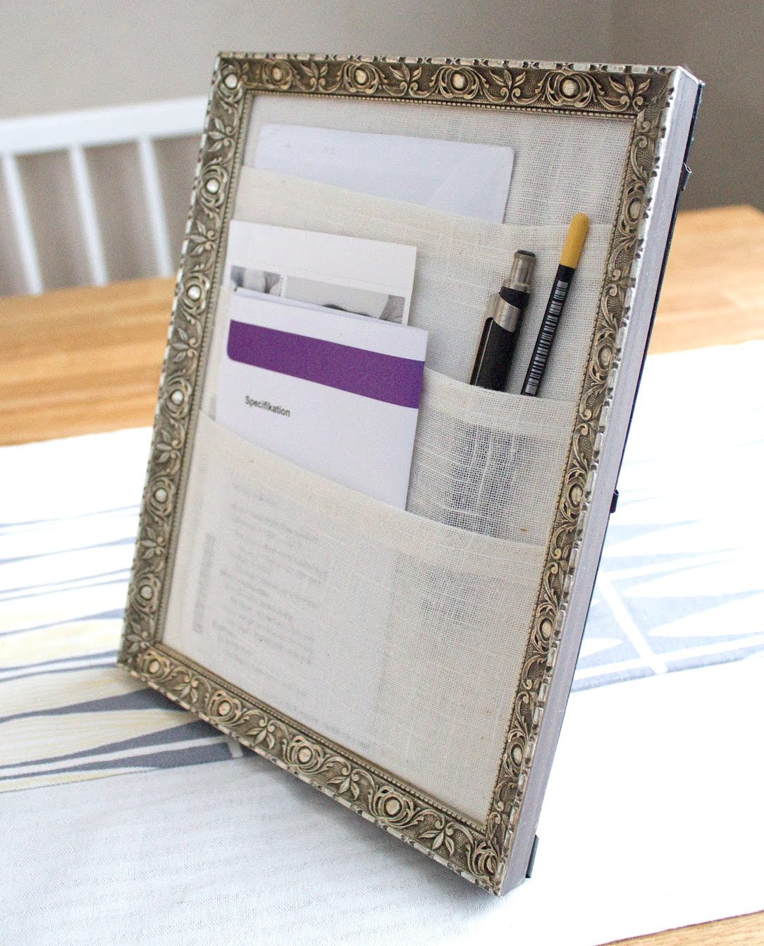 Repurpose old picture frames - table organizer